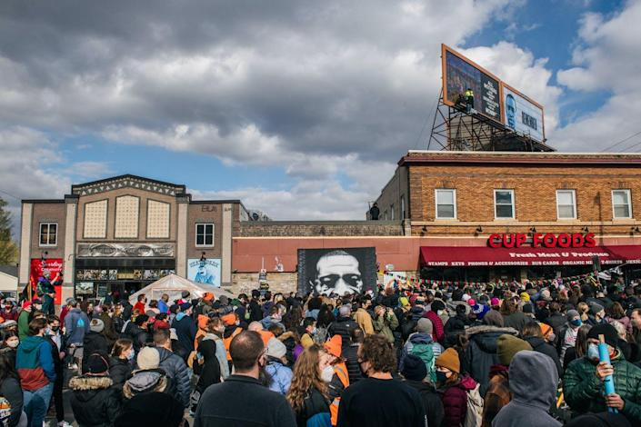 People gathered at the intersection of 38th Street and Chicago Avenue in Minneapolis after the guilty verdict in the Derek Chauvin trial on April 20, 2021.