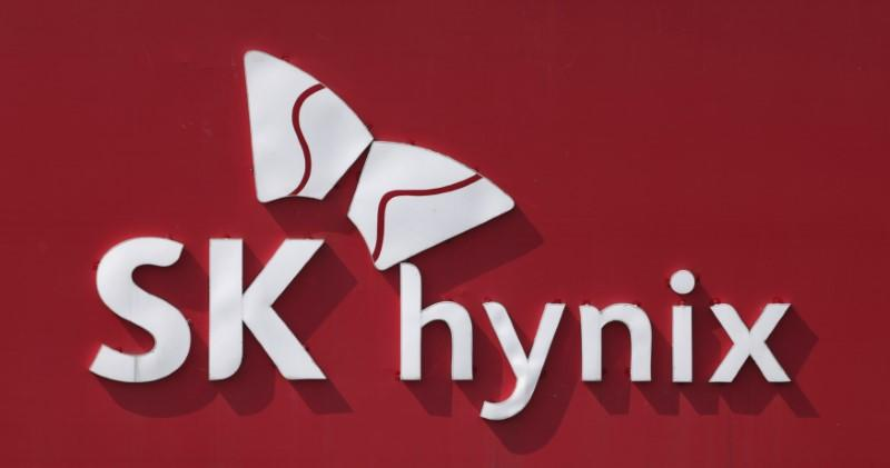 The logo of SK Hynix is seen in its plant in Icheon