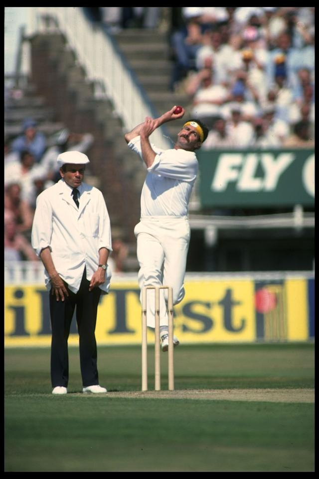 Aug 1981:  Dennis Lillee bowling for Australia against England in the 4th Test at Edgbaston.                                                Mandatory Credit: Adrian Murrell/Allsport UK