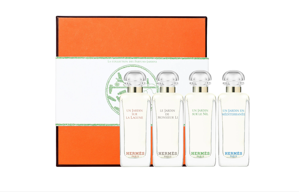 """<p><strong>HERMÈS</strong></p><p>sephora.com</p><p><strong>$55.00</strong></p><p><a href=""""https://go.redirectingat.com?id=74968X1596630&url=https%3A%2F%2Fwww.sephora.com%2Fproduct%2Fjardin-collection-miniature-coffret-set-P450560&sref=https%3A%2F%2Fwww.prevention.com%2Fbeauty%2Fg37724897%2Fbest-perfume-gift-sets%2F"""" rel=""""nofollow noopener"""" target=""""_blank"""" data-ylk=""""slk:Shop Now"""" class=""""link rapid-noclick-resp"""">Shop Now</a></p><p>Try Hermès' luxurious Garden Perfumes collection at a reasonable price. The scents <strong>all have a combination of natural notes </strong>including floral, woody, and fruity. </p>"""