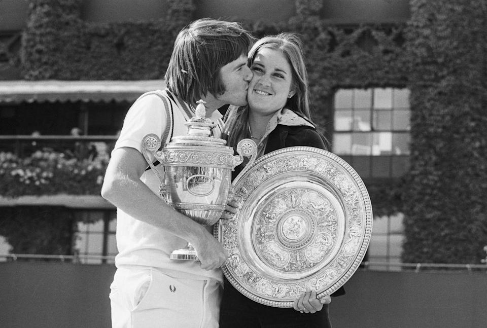 <p>The Wimbledon champions: Jimmy Connors kisses his fiance Chris Evert, after they had won the Men's Singles and Women's Singles titles in 1974.</p>