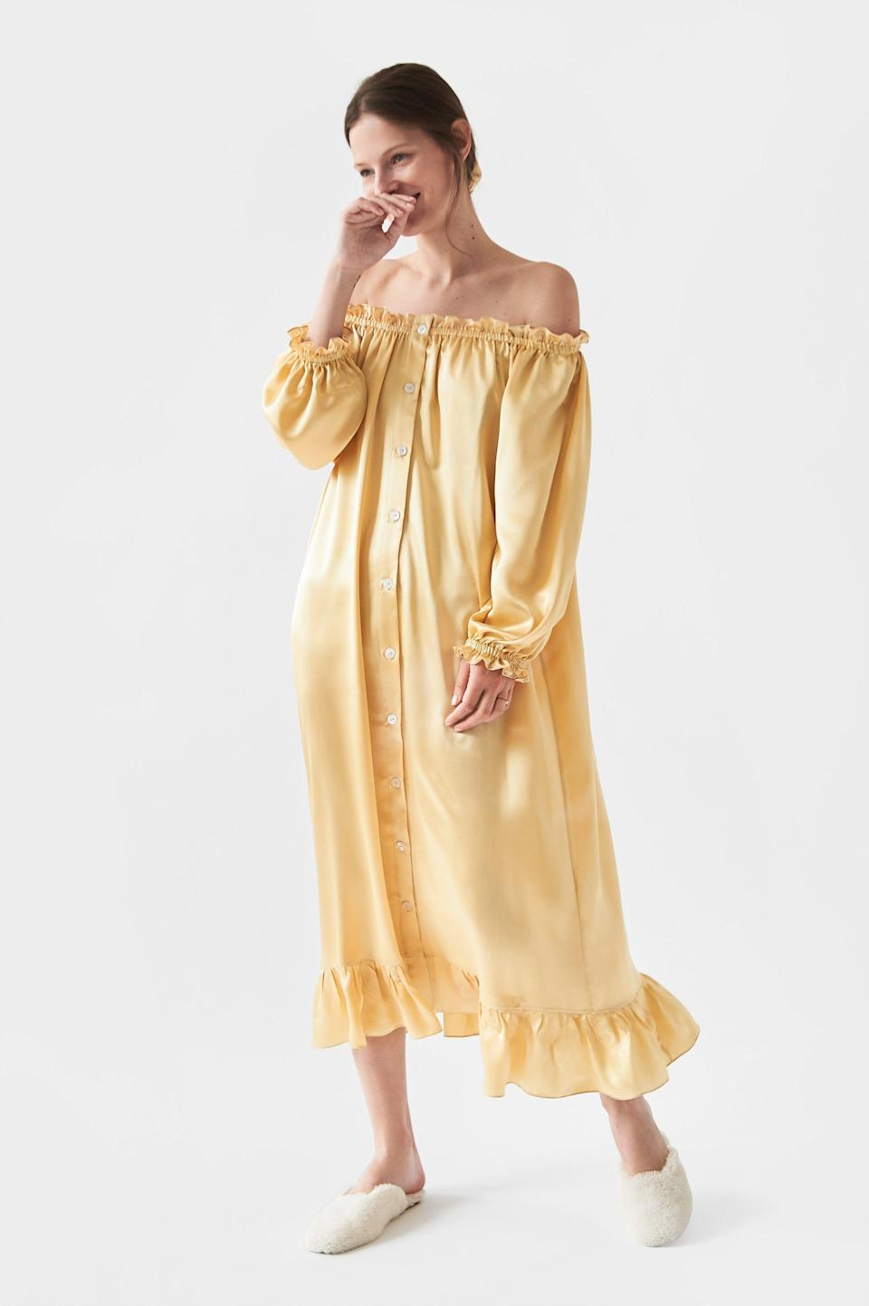 "<p><strong>Sleepr</strong></p><p>www.sleeper.com</p><p><strong>$294.00</strong></p><p><a href=""https://the-sleeper.com/en/product/champagne-silk-loungewear-dress/"" rel=""nofollow noopener"" target=""_blank"" data-ylk=""slk:shop it"" class=""link rapid-noclick-resp"">shop it</a></p><p>Get your hands on this silk loungewear dress by Sleeper—yet another brand whose transitional nightgowns have taken over our instagram feeds. The puff sleeves can be worn on or off the shoulder, and for a flirty weekend look you can cinch your waist with a <a href=""https://www.shopbop.com/farah-belt-b-low/vp/v=1/1582218755.htm?fm=search-viewall-shopbysize&os=false&searchClick=true&searchResultClicked=Farah+Belt&ref_=SB_PLP_NB_5&breadcrumb=Internal%20Search"" rel=""nofollow noopener"" target=""_blank"" data-ylk=""slk:rhinestone belt"" class=""link rapid-noclick-resp"">rhinestone belt</a>. Finish off the look by adding a <a href=""https://www.shopbop.com/athena-sandals-manu-atelier/vp/v=1/1589955833.htm?fm=search-viewall-shopbysize&os=false&searchClick=true&searchResultClicked=Athena+Sandals&ref_=SB_PLP_NB_13&breadcrumb=Internal%20Search"" rel=""nofollow noopener"" target=""_blank"" data-ylk=""slk:low heel"" class=""link rapid-noclick-resp"">low heel</a>.<br></p>"