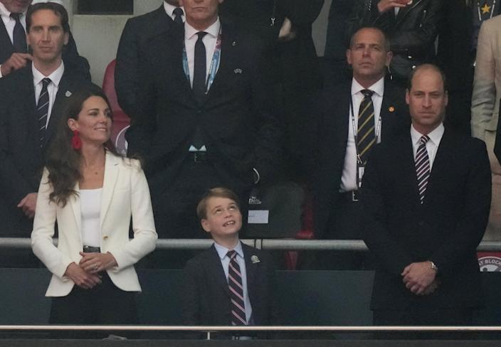 Prince George with parents Prince William and Kate Middleton at Euro 2020 final (FRANK AUGSTEIN / POOL/AFP via Getty Images)