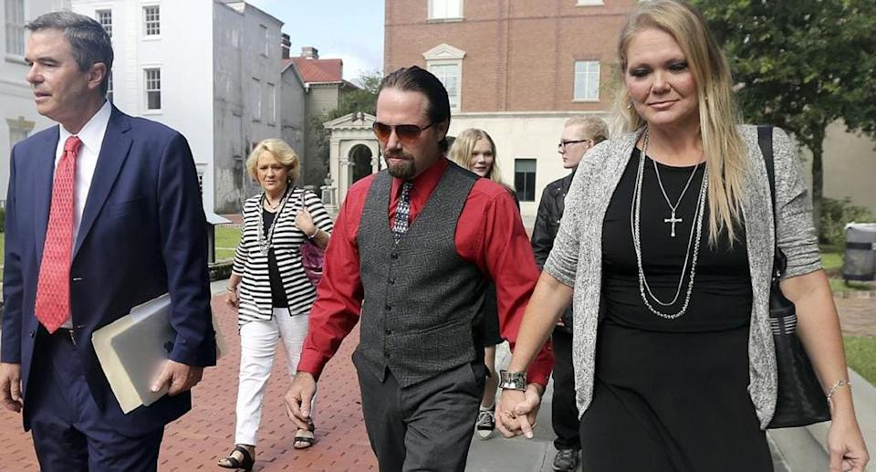 Tammy Moorer (right) allegedly forced her husband to get her name tattooed above his crotch as punishment for his infidelity. Image: AP