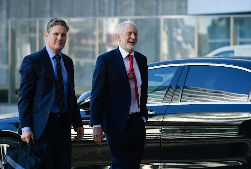 Corbyn was joined on his visit to Brussels by his Labour Party's Brexit spokesman Keir Starmer
