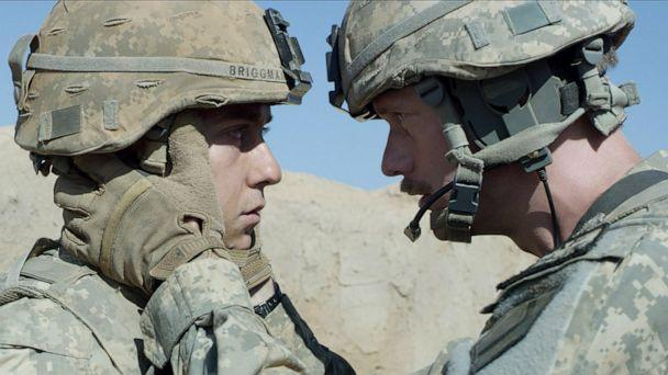 PHOTO: Nat Wolff and Alexander Skarsgard in a scene from 'The Kill Team.' (A24)