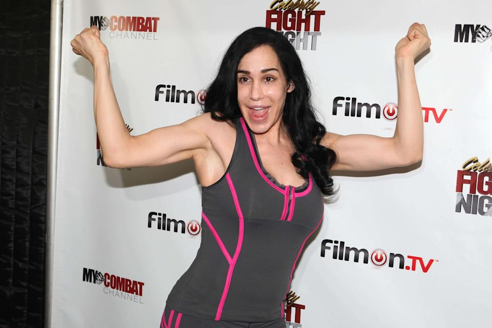 26 Sept 2011 - Beverly Hills, CA - Nadya 'Octomom' Suleman poses at the press conference of 'Celebrity Fight Night' in Beverly Hills, California. Photo Credit: Krista Kennell/Sipa Press/celebrityfightnight.030/1109262238