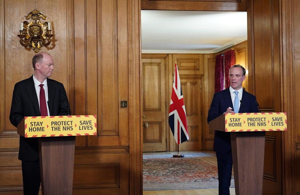 Foreign secretary Dominic Raab (right) said during Monday's coronavirus press briefing he last spoke to the prime minister on Saturday. (PA)