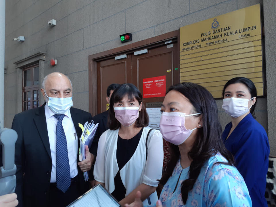 (From left) Lawyer Datuk Gurdial Singh Nijar, Kulai MP Teo Nie Ching, Segambut MP Hannah Yeoh, Family Frontiers president Suriani Kempe, May 6, 2021. — Picture by Ida Lim