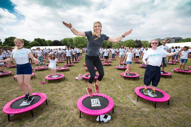Olympian Rebecca Adlington helped Innovo to break a world record title for the most people bouncing on trampolines. (Photo: Innovo)