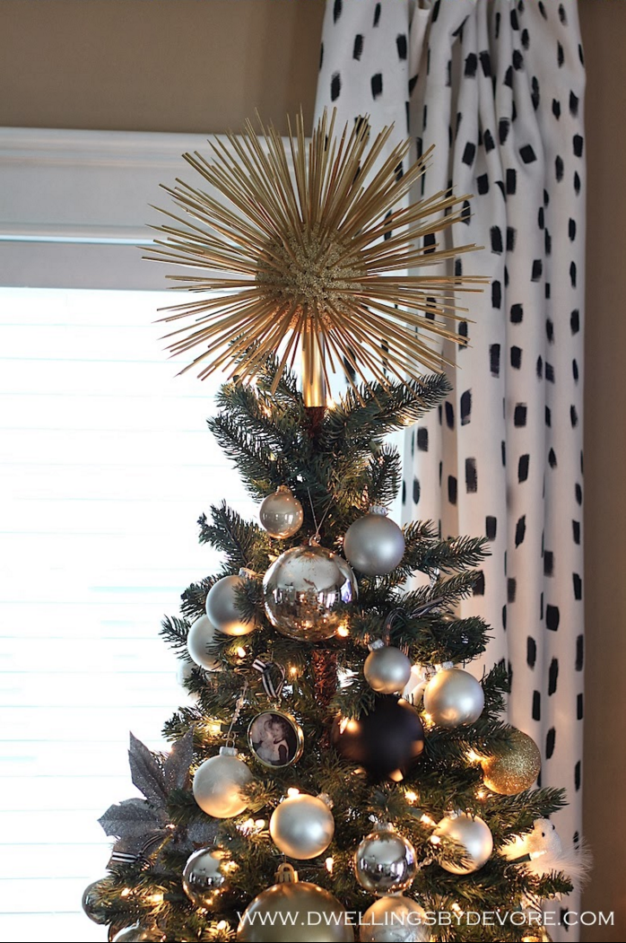 "<p>This DIY starburst topper is super easy to make and will give any tree the ultimate shine. </p><p>Get the tutorial at <a href=""http://www.dwellingsbydevore.com/2013/12/diy-starburst-tree-topper.html#.Vi_SJmSrSX3"" rel=""nofollow noopener"" target=""_blank"" data-ylk=""slk:Dwellings by Devore"" class=""link rapid-noclick-resp"">Dwellings by Devore</a>.</p><p><a class=""link rapid-noclick-resp"" href=""https://www.amazon.com/Christmas-Decoration-Pendants-Holiday-Ornaments/dp/B01KJDO8PU/?tag=syn-yahoo-20&ascsubtag=%5Bartid%7C10057.g.505%5Bsrc%7Cyahoo-us"" rel=""nofollow noopener"" target=""_blank"" data-ylk=""slk:SHOP ORNAMENTS"">SHOP ORNAMENTS</a> <em><strong>Gold Ornaments, $9</strong></em><br></p>"