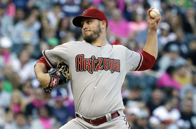Arizona Diamondbacks starter Wade Miley throws against the Chicago White Sox during the first inning of an interleague baseball game in Chicago, Saturday, May 10, 2014. (AP Photo/Nam Y. Huh)