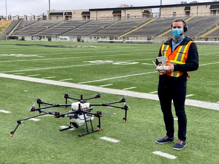 Draganfly says its drones, which have been deployed to disinfect stadiums during the pandemic, can be used to monitor social distancing and can also detect changes in vital signs which may be early indicators of Covid-19