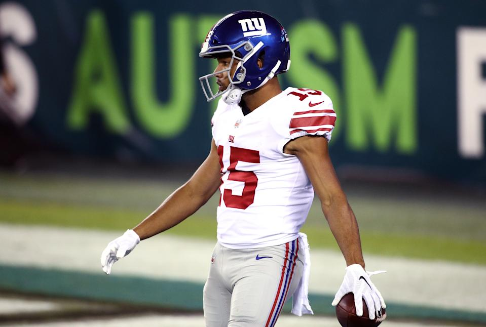 New York Giants Wide Receiver Golden Tate (15) scores a touchdown in the first half during the game between the New York Giants and Philadelphia Eagles on October 22, 2020 at Lincoln Financial Field in Philadelphia, PA. (Photo by Kyle Ross/Icon Sportswire via Getty Images)