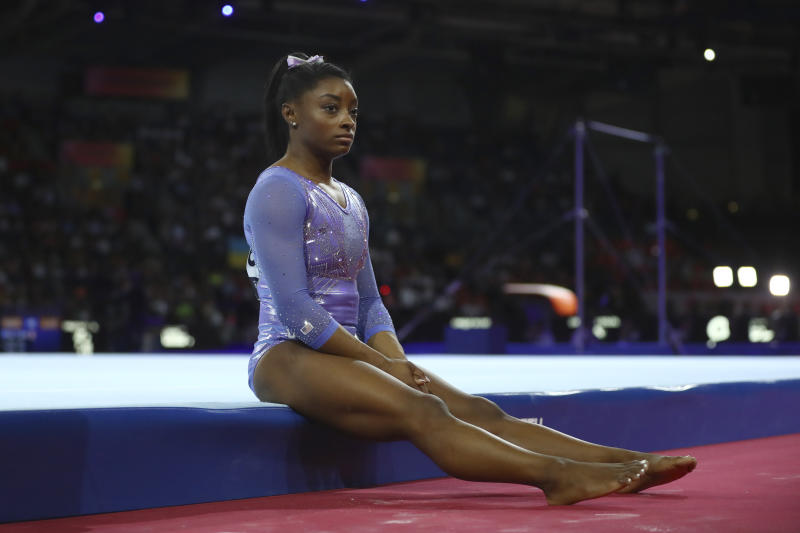 Still processing the emotion of losing 2020, Simone Biles isn't ready to make plans for 2021. (AP Photo/Matthias Schrader)
