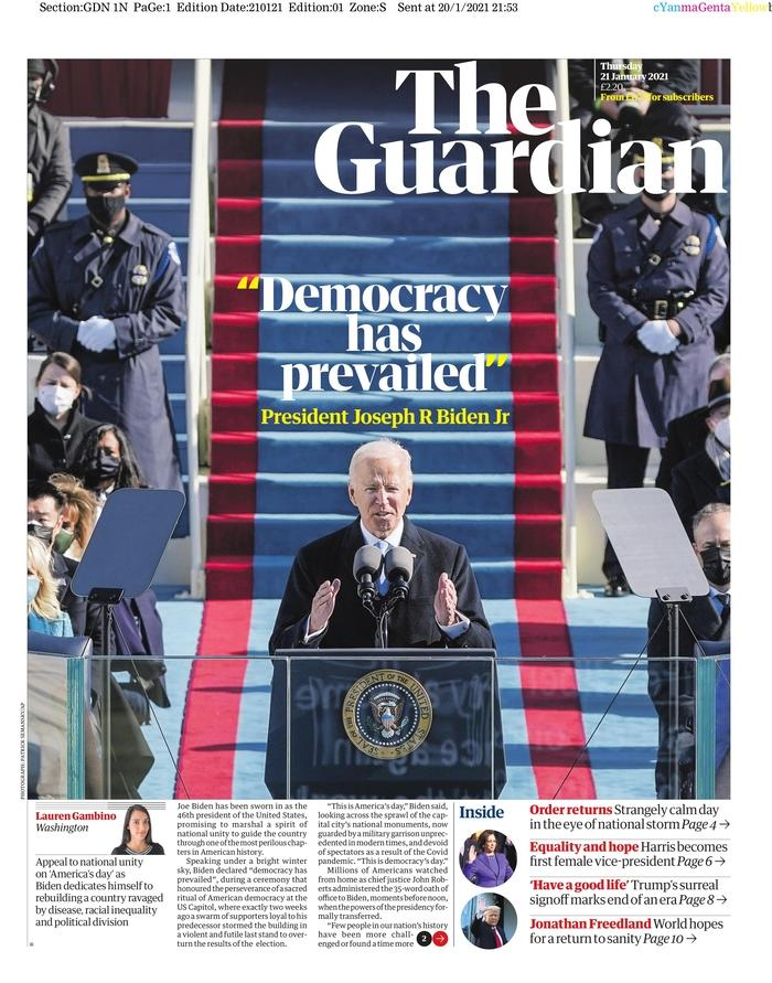 January 21, 2021 front page of The Guardian