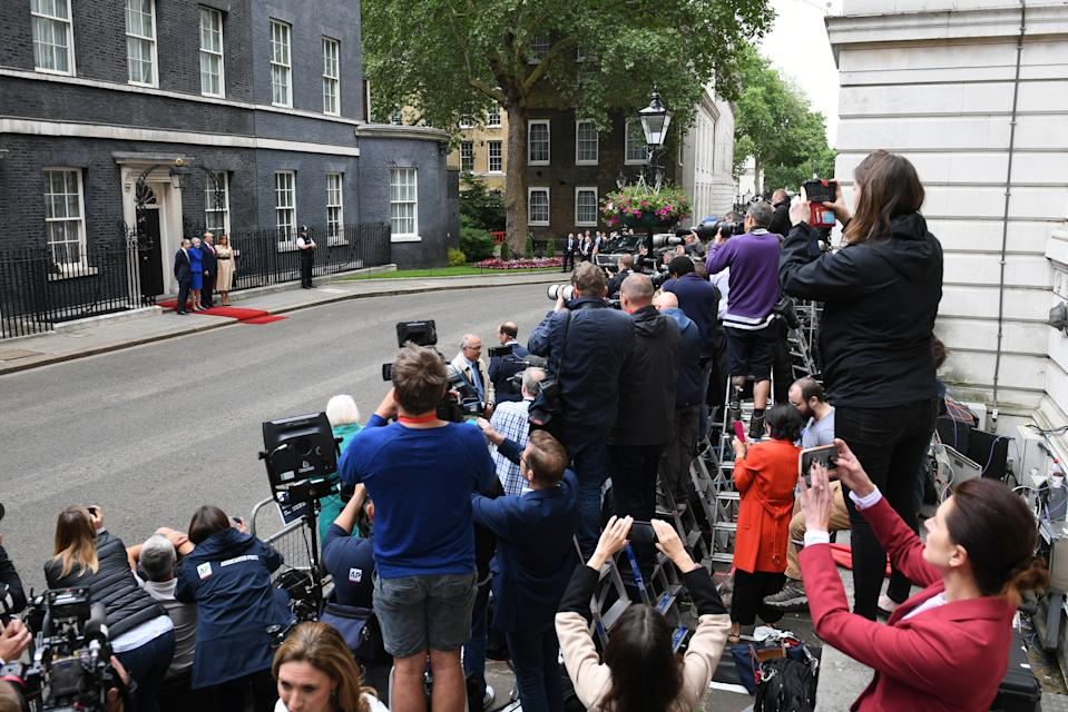 Philip May and Prime Minister Theresa May welcoming US President Donald Trump and Melania Trump to Downing Street, London, on the second day of his state visit to the UK. (PA)