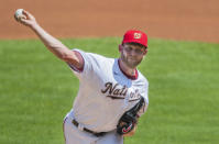 Washington Nationals starting pitcher Stephen Strasburg throws during the first inning of a baseball game against the Baltimore Orioles in Washington, Sunday, Aug. 9, 2020. (AP Photo/Manuel Balce Ceneta)
