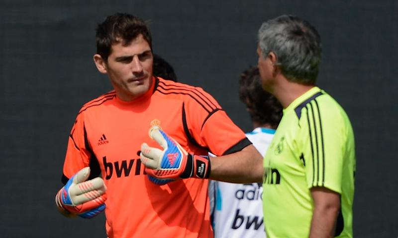 Iker Casillas with José Mourinho during a Real Madrid training session in August 2012.