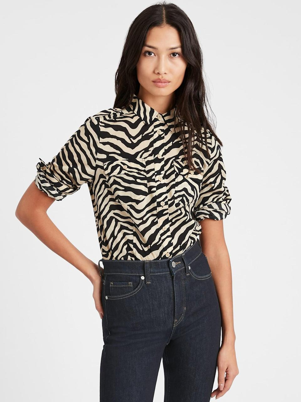 <p>Or this <span>Banana Republic Heritage Utility Shirt</span> ($33, originally $85)! It looks great with a pair of jeans and isn't your typical button down!</p>