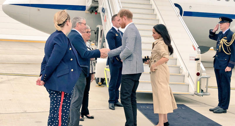 The Duke and Duchess of Sussex Prince Harry and Meghan Markle depart Melbourne Airport.