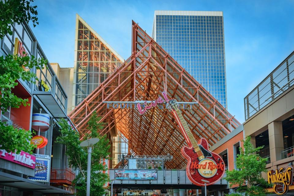 LOUISVILLE, KY, USA - JULY 10, 2016: Fourth Street Live an entertainment and retail complex located in Louisville Kentucky.