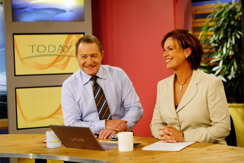 The hosts of Channel Nine's 'The Today Show', Steve Liebmann and Tracy Grimshaw, on set, 15 April 2004
