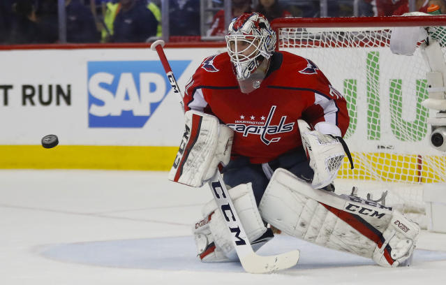 Washington Capitals goaltender Braden Holtby prepares to stop a puck during the first period of Game 6 of the NHL Eastern Conference finals hockey playoff series against Tampa Bay Lightning, Monday, May 21, 2018, in Washington. (AP Photo/Pablo Martinez Monsivais)