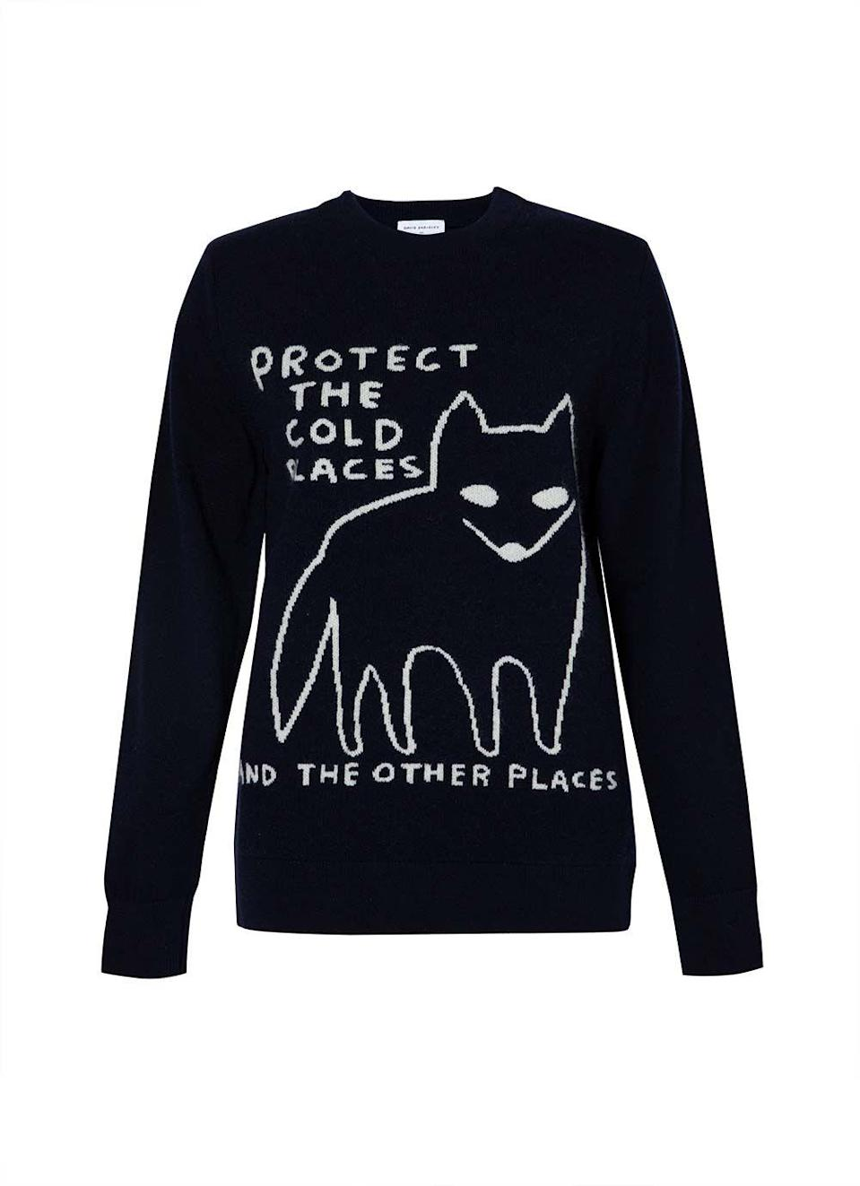 """<p>David Shrigley, the artist loved for his witty illustrations, has produced a series of characterful alternatives to the classic Christmas knit.</p><p>Collaborating with Sunspel, the British artist has applied his signature style to a range of products including lambswool jumpers, sweatshirts, underwear and scarves.</p><p>For each product sold, 10% will be donated to Stump Up For Trees, an environmental charity working towards planting a million trees in the Brecon Beacons, South Wales.</p><p>Lambswool jumper, £235, sunspel.com.</p><p><a class=""""link rapid-noclick-resp"""" href=""""https://www.sunspel.com/uk/womens/david-shrigley-and-sunspel.html"""" rel=""""nofollow noopener"""" target=""""_blank"""" data-ylk=""""slk:SUPPORT NOW"""">SUPPORT NOW</a></p>"""