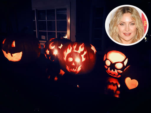 """<p>Hudson and her two sons, Ryder and Bing, had quite the pumpkin party. """"Sunday carving #HalloweenReady,"""" she <a rel=""""nofollow"""" href=""""https://www.instagram.com/p/BL732L_j9g0/"""">captioned this pic</a> of their glowing jack-o'-lanterns. (Photo: Instagram/Getty Images) </p>"""