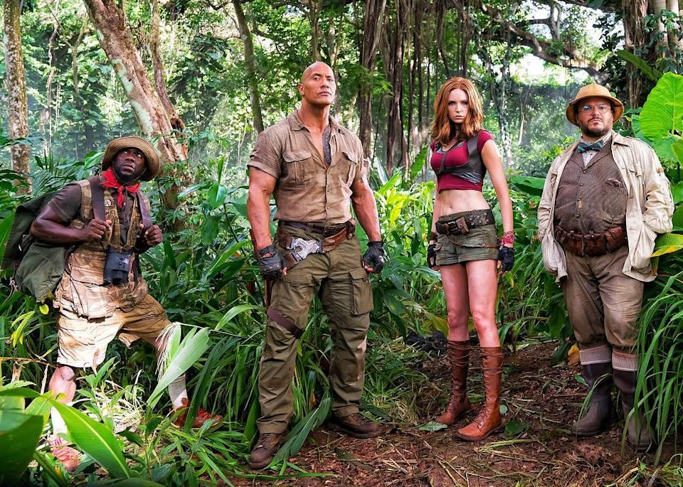 Kevin Hart, Dwayne Johnson, Karen Gillan, and Jack Black in 'Jumanji: Welcome To The Jungle' (Sony Pictures)