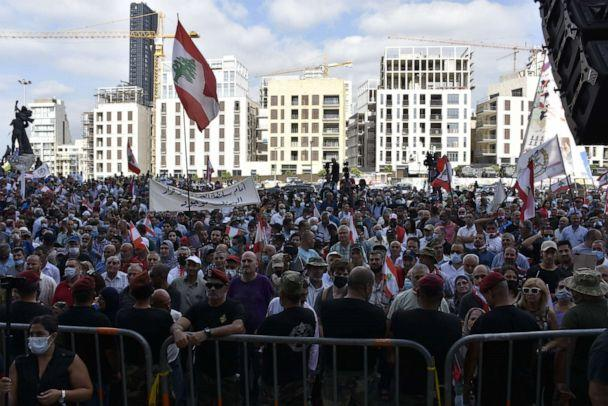 PHOTO: Demonstrators gather at the Martyrs' Square to protest unemployment and the economic crisis in Beirut, Lebanon on July 17, 2020. (Mahmut Geldi/Anadolu Agency via Getty Images)