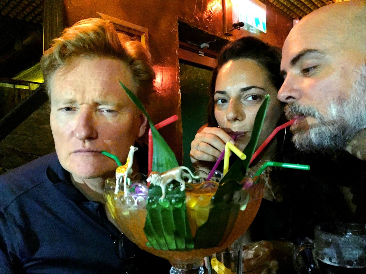 <p>I asked for the craziest drink in #TelAviv and I got it. #ConanIsrael (Photo: Conan O'Brien via Twitter) </p>