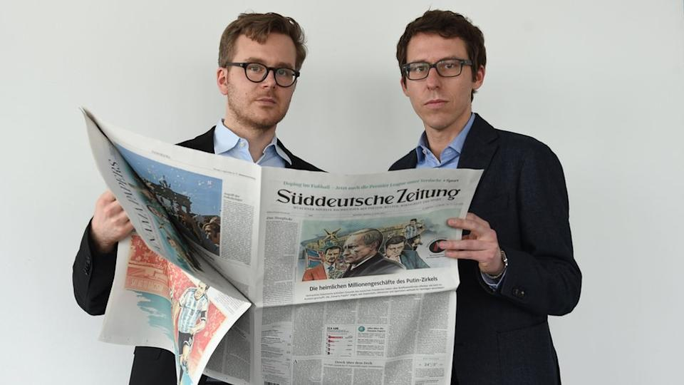 "Süddeutsche Zeitung's ""brothers"". Despite surnames that sound exactly the same, these two leading lights of the Panama Papers investigation, Frederik Obermaier (L) and Bastian Obermayer, are not related"