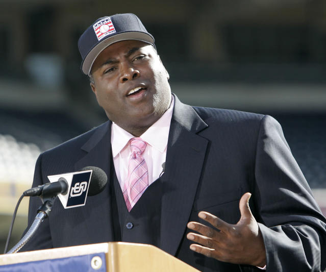 FILE - In this Jan. 9, 2007 file photo, former San Diego Padre Tony Gwynn talks about his election to the National Baseball Hall Of Fame, in San Diego. The Baseball Hall of Fame on Monday, June 16, 2014 said Gwynn has died of cancer. He was 54. (AP Photo/Lenny Ignelzi, File)