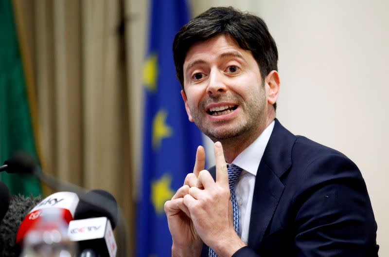 FILE PHOTO: News conference about Italy's coronavirus outbreak, in Rome