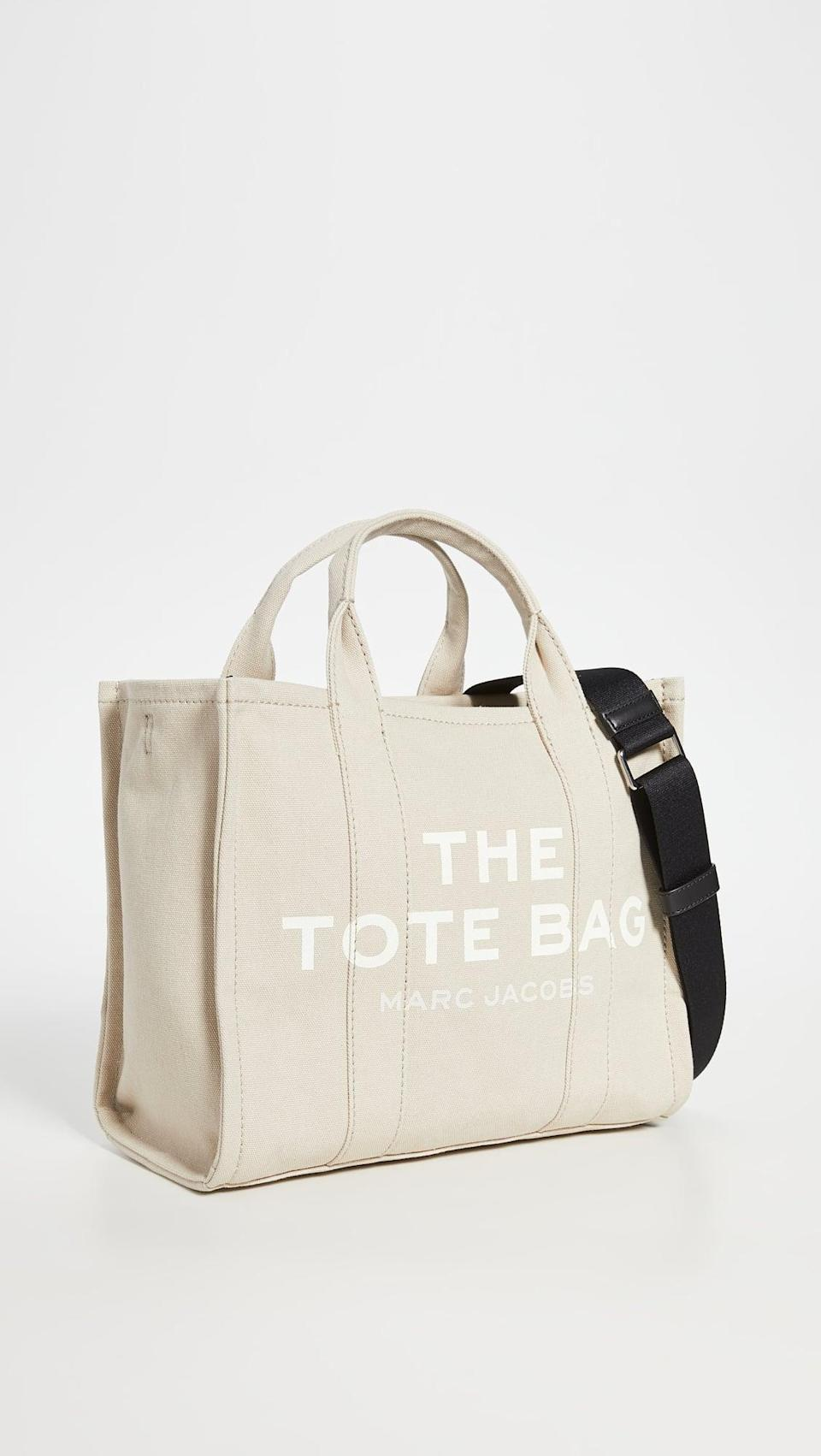 <p>If you're looking for a canvas choice, then the <span>The Marc Jacobs Small Traveler Tote</span> ($175) is perfect.</p>