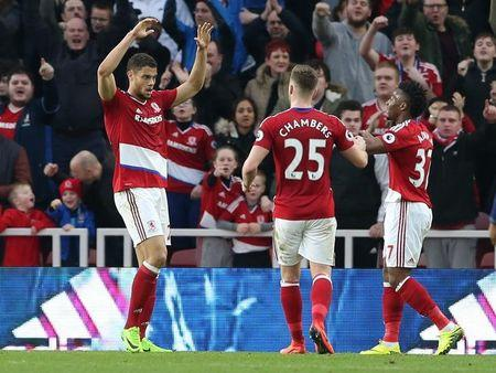 Middlesbrough's Rudy Gestede celebrates scoring their second goal with team mates