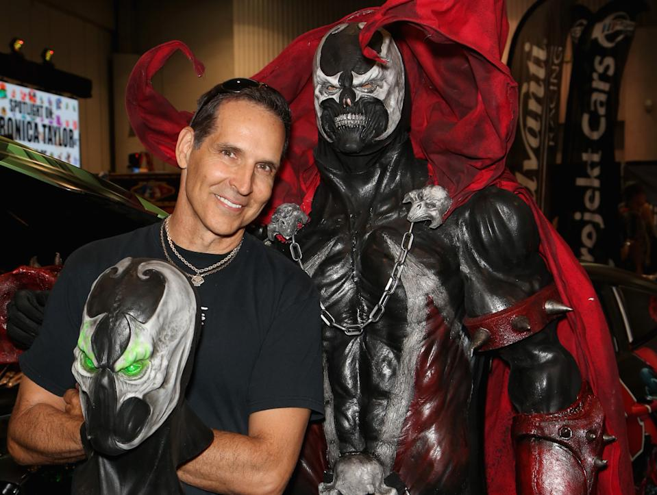 LAS VEGAS, NV - JUNE 23: Image Comics co-founders Todd McFarlane (L) and Tom Profitsky, dressed as the character Spawn.