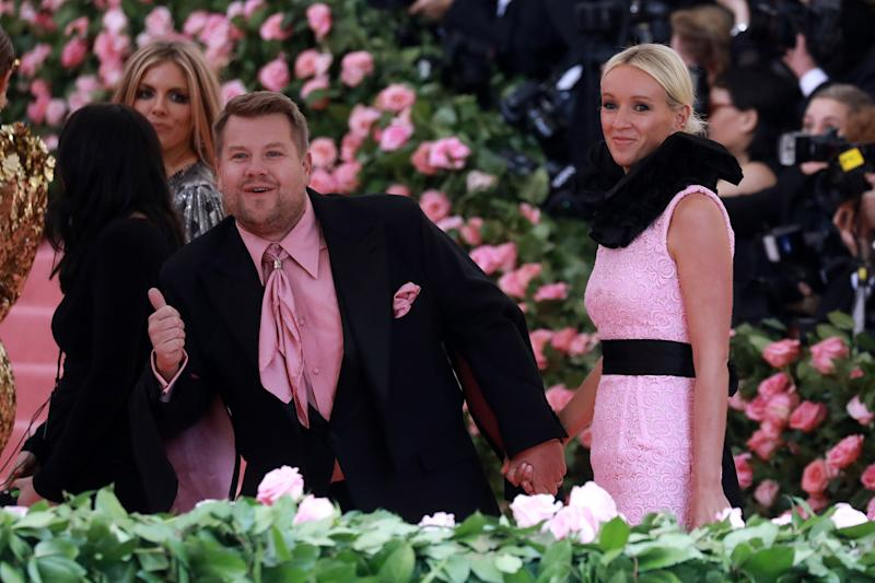 NEW YORK NEW YORK- MAY 06 James Corden and his wife Julia Carey attend The 2019 Met Gala Celebrating Camp Notes on Fashion at Metropolitan Museum of Art