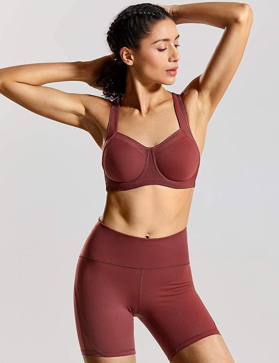 <p>The wide, smooth band at the bottom of the <span>Syrokan Women's High-Impact Powerback Support Underwire Sports Bra</span> ($26) makes it extra supportive and comfortable. The breathable mesh panels will keep you cool during your workout. </p>