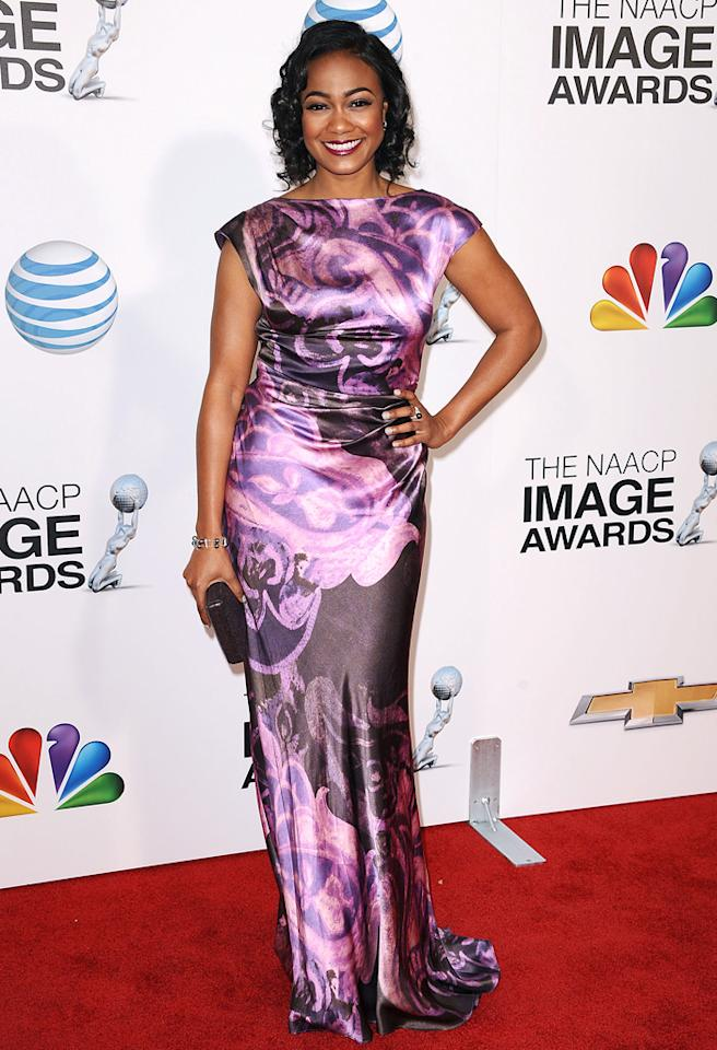 "Former ""Fresh Prince of Bel-Air"" star Tatyana Ali -- who portrayed Ashley Banks on the NBC sitcom from 1990 to 1996 -- looked all grown up and incredibly gorgeous upon arriving at the 44th annual NAACP Image Awards in downtown Los Angeles. The 34-year-old rocked the red carpet in a swirling silk Kevan Hall gown, Mikimoto jewelry, curled tresses, and that signature smile before picking up her second consecutive Outstanding Actress in a Daytime Drama trophy for her current work on CBS' ""The Young and the Restless."" (2/1/2013)"