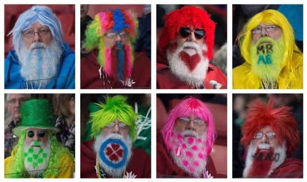 Curling fan Hans Madsen is pictured on eight different days at the 2015 Scotties Tournament of Hearts in Moose Jaw, Sask. (Jonathan Hayward/The Canadian Press - image credit)