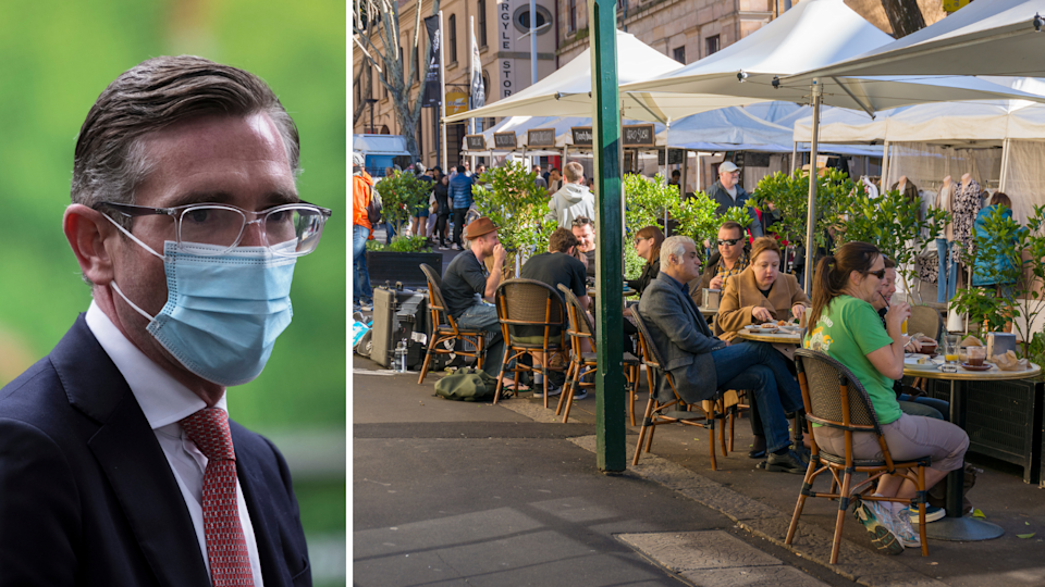 NSW Premier Dominic Perrottet and people dining outdoors in The Rocks, Sydney.