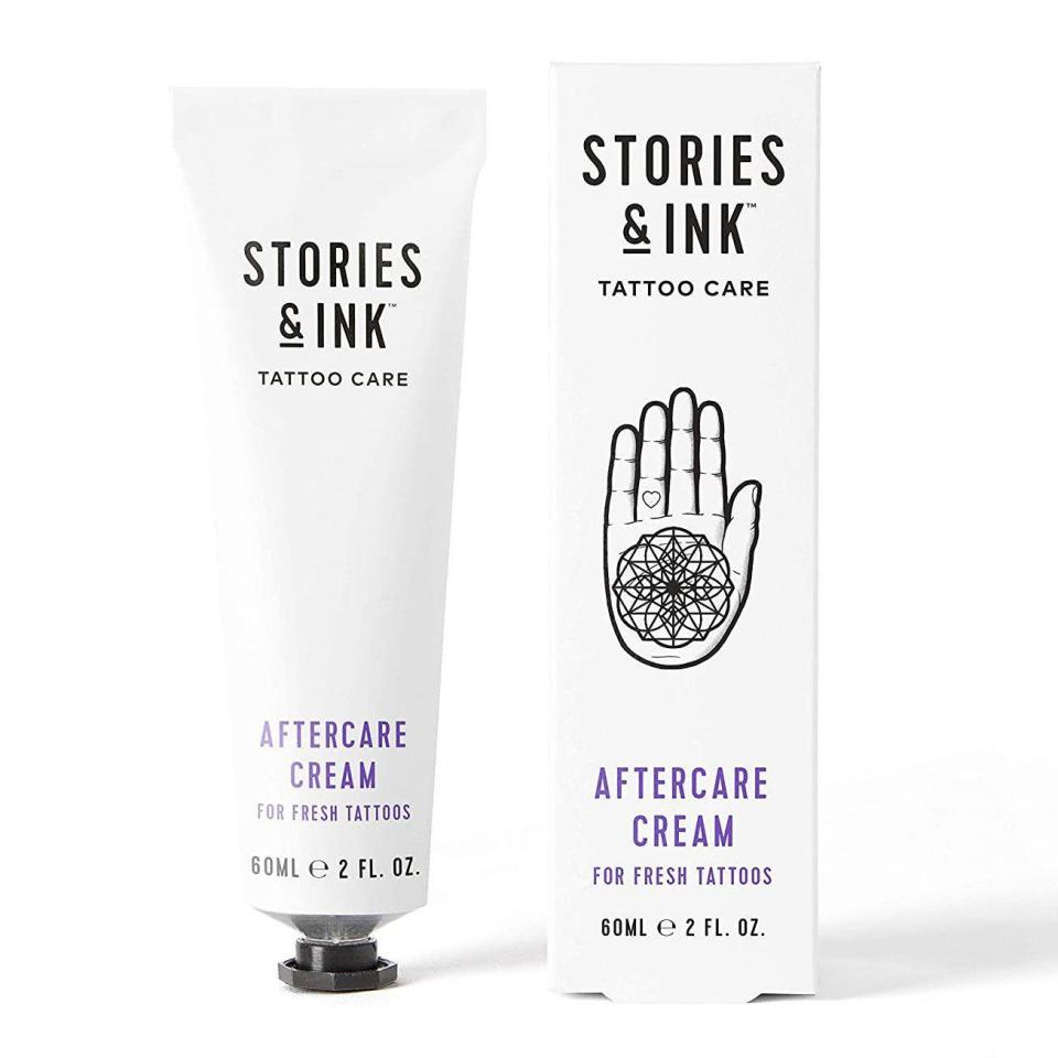 """<p><strong>Stories & Ink</strong></p><p>amazon.com</p><p><strong>$18.99</strong></p><p><a href=""""https://www.amazon.com/dp/B08CVT9YWB?tag=syn-yahoo-20&ascsubtag=%5Bartid%7C10054.g.36719600%5Bsrc%7Cyahoo-us"""" rel=""""nofollow noopener"""" target=""""_blank"""" data-ylk=""""slk:Shop Now"""" class=""""link rapid-noclick-resp"""">Shop Now</a></p><p>As far as all-in-one tattoo lotions go, this one is pretty much at the top. It's a great aftercare alternative to the classic ointments but doesn't contain petroleum and is packed with Vitamin E and others to help speed up the healing process and reduce irritation. And once your tattoo is healed, you can keep using it to ensure it stays looking fresh.</p>"""