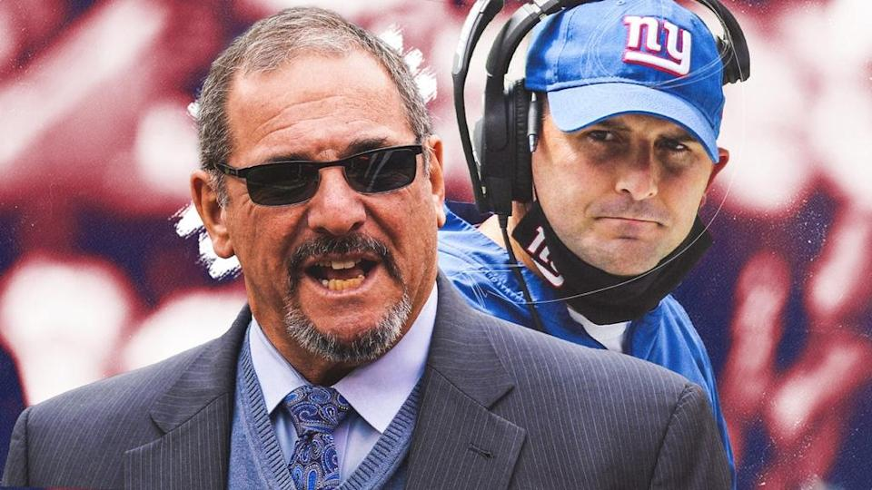 Dave Gettleman and Joe Judge treated image red background