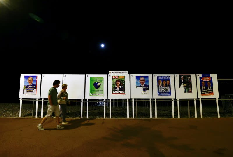 FILE PHOTO: Electoral panels ahead of the second round of the French regional elections in Cagnes-Sur-Mer