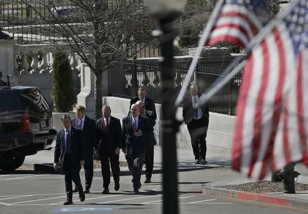 Members of the House Freedom Caucus arrive for a meeting with U.S. President Donald Trump at the White House in Washington, March 23, 2017. REUTERS/Carlos Barria
