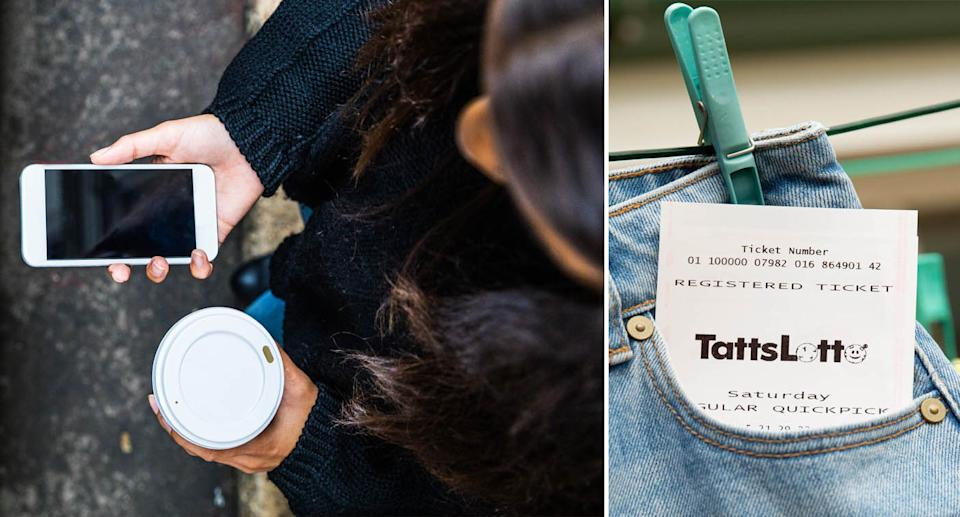 (left) a birds eye view of a woman checking her phone while holding a takeaway coffee (right) a TattsLotto ticket in the pocket of a pair of jeans which hangs on a washing line. Source: Getty Images