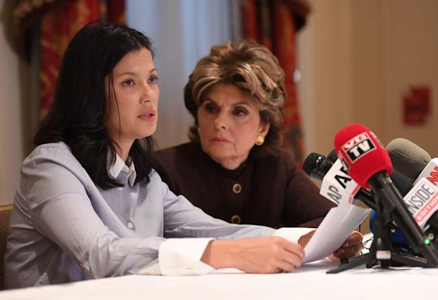 Actor and model Natassia Malthe and attorney Gloria Allred speak at a news conference on Oct. 25 in NYC. (Photo: ANGELA WEISS/AFP/Getty Images)